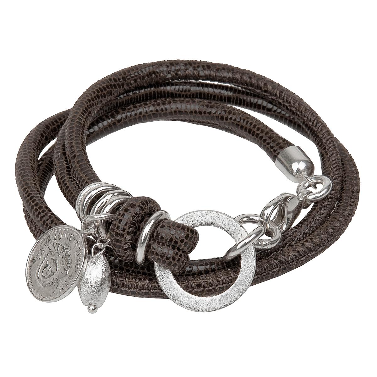 Reptil Armband dunkelbraun matt
